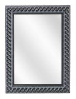 Spiegel met Gevlochten Houten Lijst - Oud Zwart - 53 x 73 cm - Lijstbreedte: 30 mm
